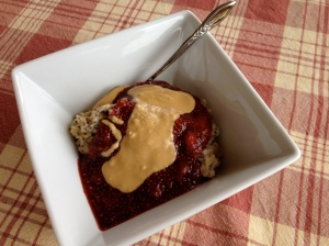 Oh She Glows Creamy PB + J Oatmeal Parfait deconstructed. I make my own PB!