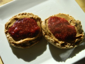 Strawberry Chia Jam and PB on Ezekiel English Muffins