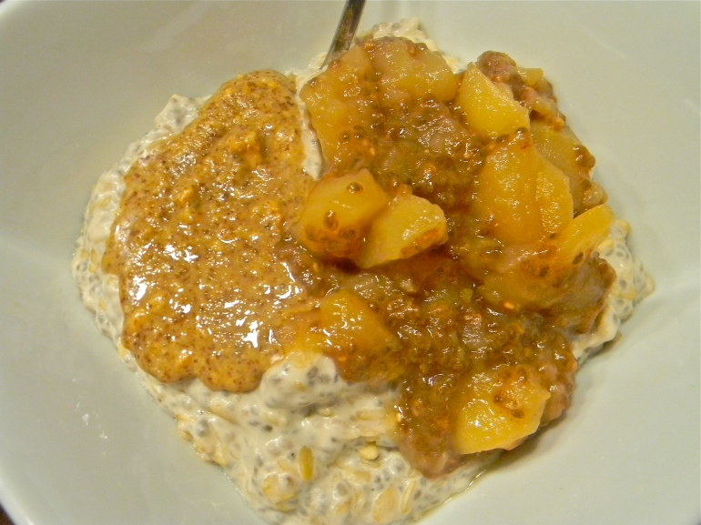 An apple disappointment resulted in apple deliciousness! Chia Seed Oatmeal with Almond Butter and Apple Chia Seed Jam!