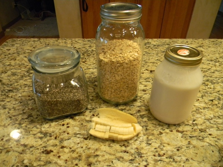The ingredients are few; oatmeal, chia seeds, almond milk, and banana!