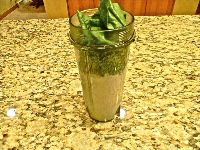 Almond milk, banana and spinach...