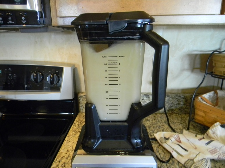 Add ginger water mixture to the blender. It's probably a good idea to let it cool a bit before blending. Live and learn.