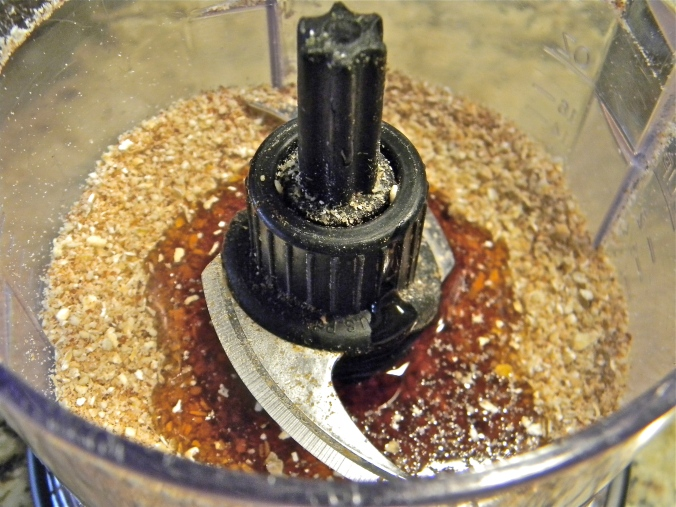 After blending the additional dry ingredients, add vanilla and maple syrup!