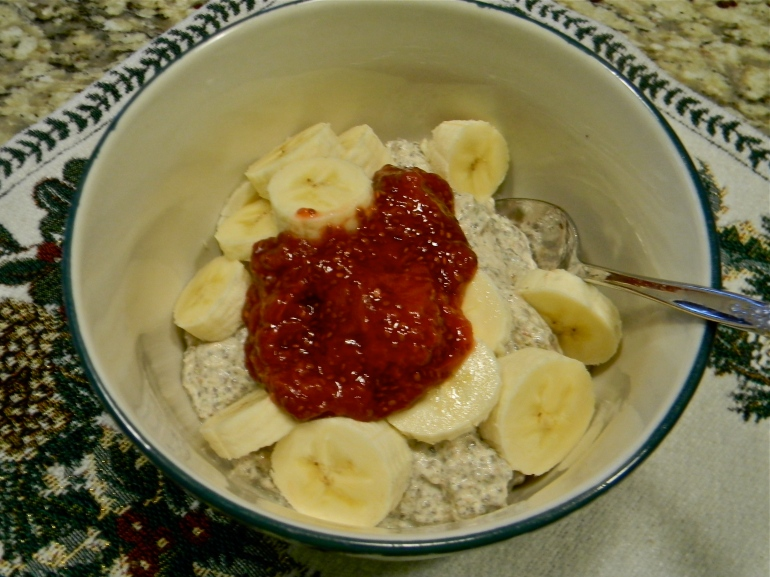 And day number 2 it was bananas and homemade chia seed jam!