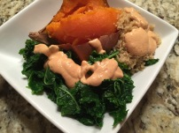 """Sweet potato, quinoa, kale with """"crack sauce"""". (Fondly named as it is quite addictive!)"""