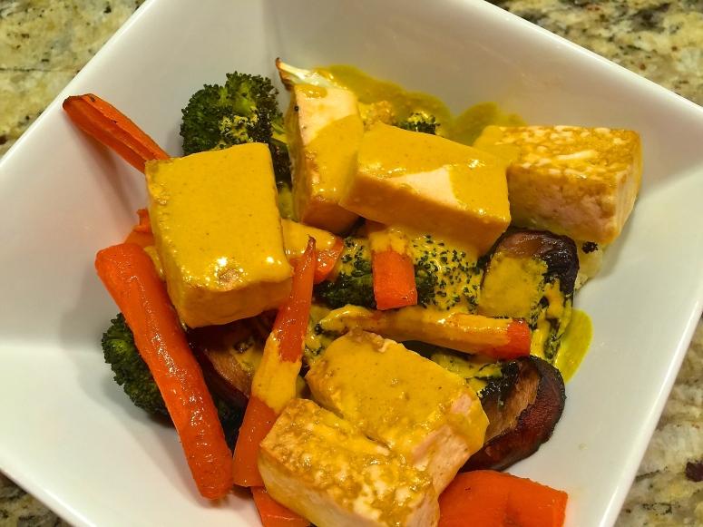 Roasted Veggies and Tofu with Anti-Inflammatory Turmeric Tahini Sauce